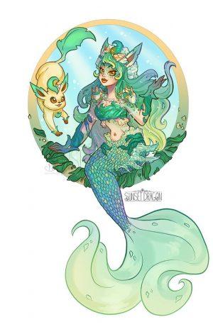 Artista desenha evoluções do Eevee como Sereias 23