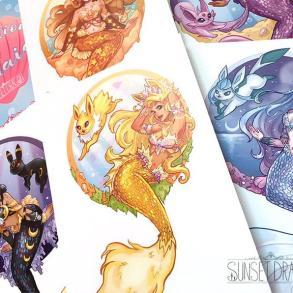 Artista desenha evoluções do Eevee como Sereias 20