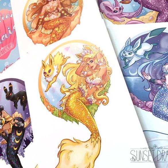 Artista desenha evoluções do Eevee como Sereias 16