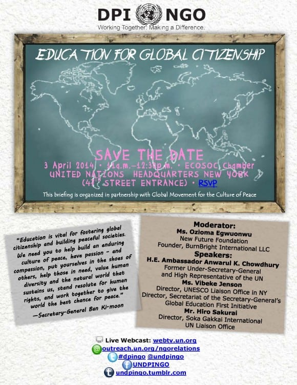 Save the Date Education for Global Citizenship_3 April 2014