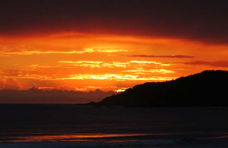 Sonnenuntergang Byron Bay Australien Geld sparen