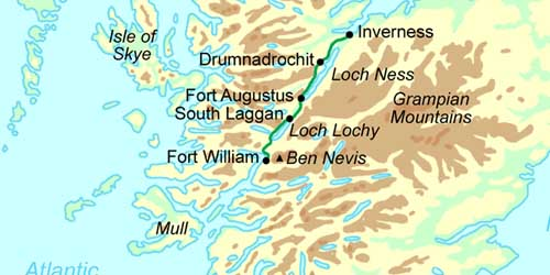 Great Glen Way Schottland Wandern Karte