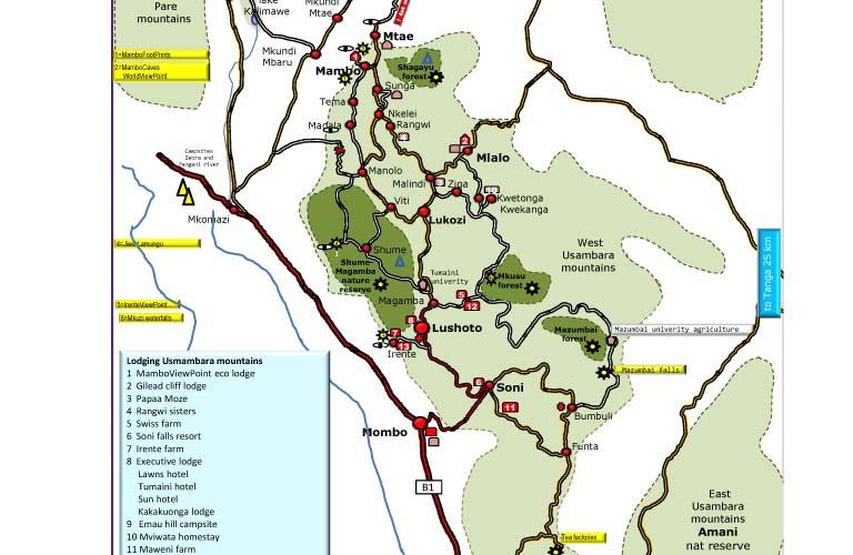 Karte Lushoto Usambara Mountains