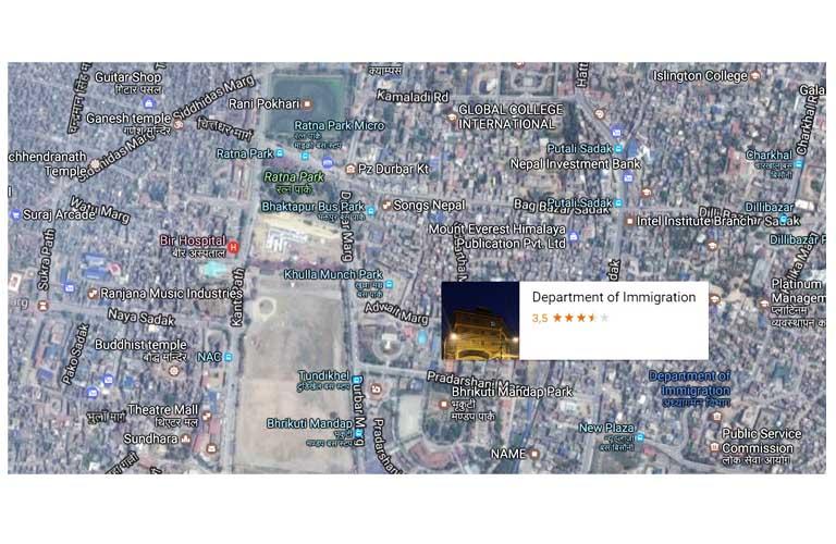 karte Einwanderungsbehöre Kathmandu Immigration Office map