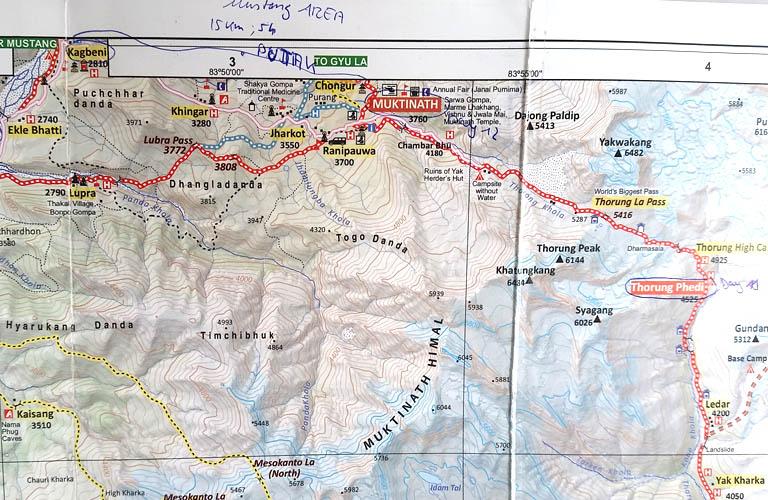 Muktinath Map Annapurna Circuit Annapurnarunde Karte