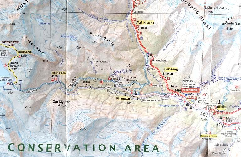 Nepal Tilicho Lake Map Annapurna Circuit Annapurnarunde Karte