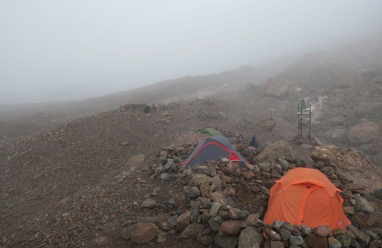 Camp 2 Kasbek Bericht Mount Kazbek Bergsteigen Kaukasus Georgien