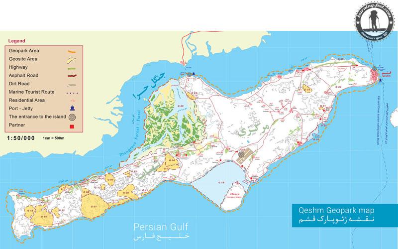 Karte Qeshm map Queshm Island Iran Geopark Qeschm Sehenswürdigkeit