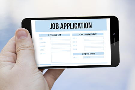 job application on cell phone