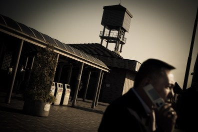 Souichirou making a phone call in front of Niigata prison, as 2 members who were incarcerated are released - 2009