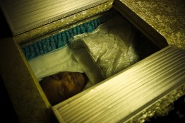 High ranking boss Miyamoto-san in his coffin after his death, during his wake - 2010