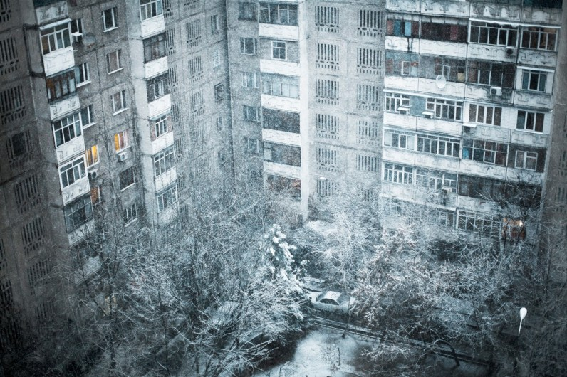 A soviet time building in the beginning of the winter in Bishkek.