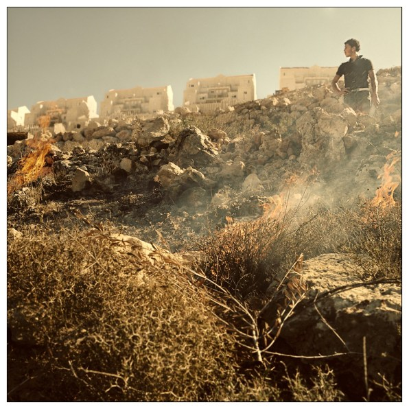 Hamad, preparing his father land for a new season of eggplants under the new buildings of the settlement.