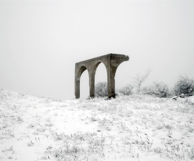 Ruins of a concrete building on an abandoned military drill ground on the outskirts of Budapest.