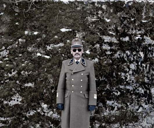 Istvan, a Lieutenant Colonel of the Hungarian Army at an unveiling of a war memorial in Josvafo, North East Hungary.