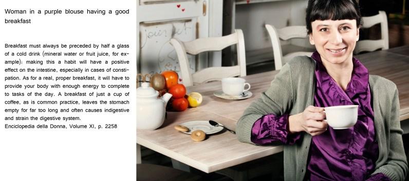 Woman in a purple blouse having a good breakfast