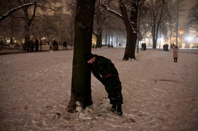 A drunk Serbian soldier during New Year's Eve celebrations in Pionirski Park.