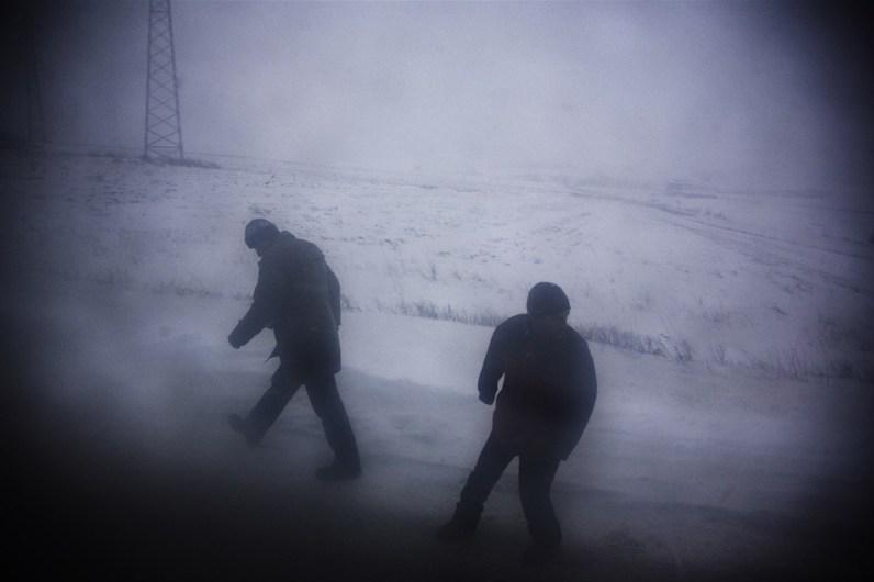 A blizzard strikes along the road from Prishtina to Mitrovica, Kosovo.