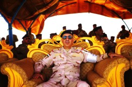 KHOR AZ ZUBAYR: Iraq: 28th April 2011: An Iraqi military officer watch over an Iraqi armed forces training exercise in southern Iraq. As the US withdraws, it leaves behind an Iraqi military whose culture and privilege strongly resembles the Baathist one it tried so hard to destroy.