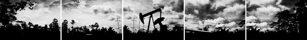 ECUADOR, LAGO AGRIO REGION. NOVEMBER 2011. 5 frames together, View of an oil well.