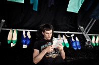 David Delfin backstage, New York Fashion Week, 2009.