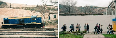 Left: An old railway line is using for the stone quarry in Balaklava. Right: Children come to Balaklava for the excursion.