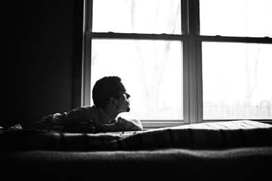 He's lying on our grandfather's bed, trying to sleep off a spasm, when we hear a loud bang. Dazed as he began to wake, Nick fell and is stuck between the bed and the window.