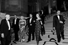 Guests of the San Francisco Ballet Opening Night Gala descend the stairs of City Hall while making their way from dinner to the performance. The galas are often all night affairs consisting of a cocktail hour, dinner, performance and an after party.