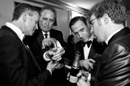 Chip Zecher, Mark Wagoner, Alan Malouf and Matthew Kimball (left to right) compare their cufflinks with one another during intermission at the San Francisco Opera Opening Night Gala at War Memorial Opera House.