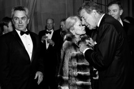 Paul Pelosi leans in to speak with socialite Denise Hale, one of the most respected grande dames of San Francisco society, during the cocktail hour at the San Francisco Ballet Opening Night Gala.
