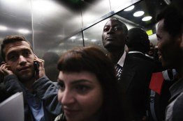 Mutasim Ali in the elevator on his way to the district court room to receive the verdict of his appeal.