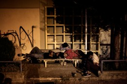 012. Greece. Orestiada. A group of migrants spends the night in the railway station of Orestiada after crossing the border with Turkey.