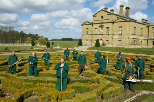 From the new book A Place in the Country. From a series of portraits I made of various staff groups. Holkham Estate. Holkham Estate. North Norfolk. The Landscape team in the rear gardens of Holkham Hall.