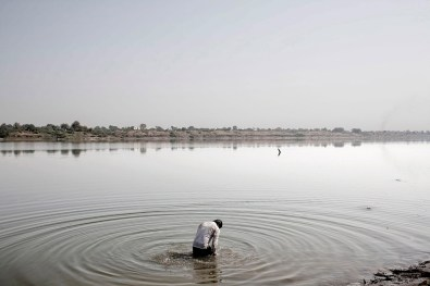 Devout Hindus' performs the sacred ablutions in the waters of Varanasi, India 2008.