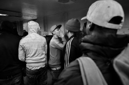 """""""Looney"""",active member of the Nation yells """"amor de rey"""" king love at his group while they're looking for """"Trinitarios"""" members from an enemy gang in a subways station. Brooklyn/NYC"""