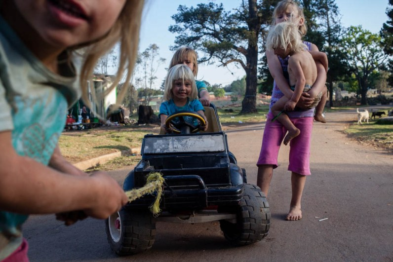 Young girls playing outside Coronation Park (Poor whites community) 2014
