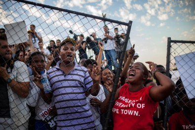 A female student shouting at the statue of Cecil John Rhodes as it was going to be removed. 2015