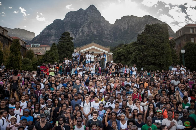 Students watching the removal of the statue of Cecil John Rhodes at the University of Cape Town. 2015