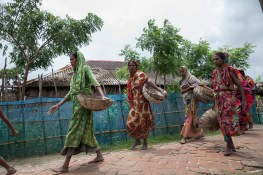 Women going back to their home after a day long work in Shyamnagar, Satkhira. Bangladesh is one of the countries most vulnerable to the effects of climate change. The regular and severe natural hazards that Bangladesh already suffers from – tropical cyclones, river erosion, flood, landslides and drought – are all set to increase in intensity and frequency as a result of climate change. Sea level rise will increasingly inundate coastal land in Bangladesh and dramatic coastal and river erosion will destroy lands and homes. These and the many other adverse effects of climate change will severely impact the economy and development of the country.One of the most dramatic impacts will be the forced movement of people throughout Bangladesh as a result of losing their homes, lands, property and livelihoods to the effects of climate change. While it is impossible to predict completely accurate figures of how many people will be displaced by climate change, the best current estimates state that sea level rise alone will displace 18 million Bangladeshis within the next 40 years. The vast majority of these people will be displaced within Bangladesh – not across international borders – presenting the Government with enormous challenges, particularly when it comes to finding places to live and work for those displaced.