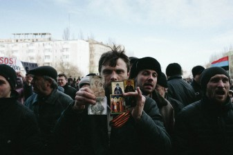 Pro-Russian protest, Donetsk, March 2014