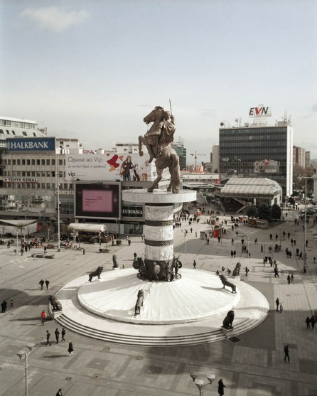 """13.02.2013, Skopje, Macedonia. 12. The most significant statue in the city centre and unofficial symbol of pursuit for new Macedonian identity is the monument """"Warrior on the horse"""". Because of its intentional reminiscence to Alexander the Great, reignited the debate with Greece over Macedonian identity."""