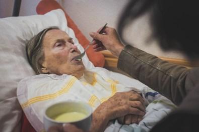 Nicoletta feeding Helga after she had a physical breakdown. Bedburg, GERMANY, August 18, 2015.