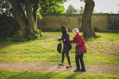 """Helga and Nicoletta walking. Helga always loved going for a stroll. Even at 92, she would still go outside every day. """"Kopf und Beine müssen immer in Bewegung bleiben"""" (""""Head and legs always have to keep moving""""), was one of her life mottos. Bedburg, GERMANY, 1 June, 2015."""