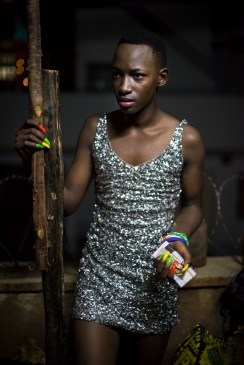 A contestant prepares backstage for the Mister and Miss Pride competition. Kampala, Uganda. August 7, 2015. © Diana Zeyneb Alhindawi