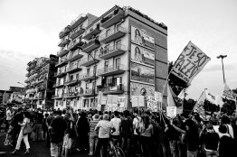 """Protest against the plan to realize a new dumping site in the area close to Chiaiano, Marano and Giugliano. The new site should be able to contain 1 million and a half tons of waste. Chiaiano-Naples (Italy) November 16, 2016. Chiaiano is one of the towns in the so-called """"Triangle of death"""" within the Land of fires, an area in Campania between the province of Caserta and the province of Naples, sadly re-known for being the most polluted area of this region due to millions of toxic waste that have been illegally dumped here over the past 20 years. National and international industries have been illegally disposing hazardous waste thanks to deals with local politicians and the Camorra, cutting down the enormous costs of legal disposing. The area is also interested by a worrying and wide rise of cases of cancer, especially among children and young people, officially connected to illegal landfills."""