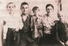 "We try to recover a lost image of Ana and Pasha with their family and their father, Nichifor, who fled the Soviets, due to his brother being a local mayor in Moldova and their staunch opposition to the Bolsheviks. Ana and Pasha do not know the details of what happened to their father after they were deported except that he was captured in Romania and sent to a gulag near Odessa. He died in prison of unknown causes. This photo was taken before the family was deported and the original image has been lost. It is impressive to think about the availability of images for this story and how much easier it is to preserve events and memory today, ÒThe children nowadays are smarter, they remember everything. They are born with mobiles in their hands. We weren't so lucky.Ó -Pasha Ana remembers the night their father fled, ""One night, around midnight, our father, before fleeing to Romania, knocked on the window and gave us a box of sweets, saying to us, 'Your father is going away alone, I donÕt know where, but you must listen to your mother because she is staying behind to raise you.'"" They never saw him again."