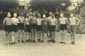 My grandfather (6th from the left) in 1942, somewhere in Russia. The dots in the picture reflect the holes in my inherited memory.