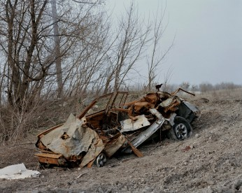 A car bombarded by an B-21 Grad - one of the most unpredictable weapons. Hirs?ke ATO zone (war zone), March 2015, Ukraine.