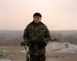 Bohdan. Soldier on guarding position, Hirs'ke, ATO zone, March 2015, Ukraine.