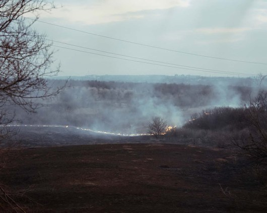 Fire. ATO zone (war zone), March 2015, Ukraine.